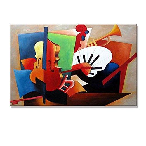 IPLST@ Dipinto a mano su tela astratta moderna di strumenti musicali ad olio su tela per la decorazione domestica-24x36inch(Nessuna cornice, senza barella)