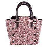 Rivets - Bolsas de piel para mujer, con asa superior, para ir de compras, trabajo, campus y lentejuelas, color negro rosa