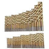 99pcs 1.5-10mm de titanio recubierto Broca Conjunto de acero de alta velocidad Bits Manual de fresa espiral for madera, plástico y aluminio de perforación