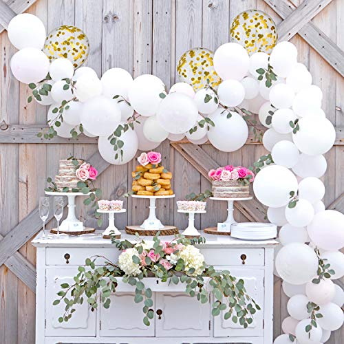 TUPARKA Balloon Arch Garland Kit,113PCS White Gold Confetti Balloons , Dot Glue Balloon Decorating Strip Tape ,Garland Making Accessories for Baby Shower Wedding Birthday Graduation Party Decorations