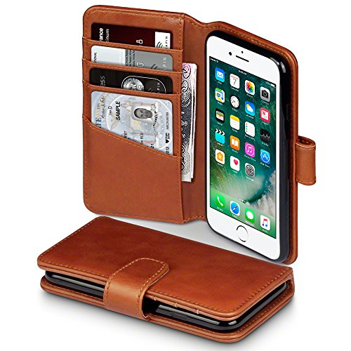 TERRAPIN, Compatible with iPhone 8 / iPhone 7 Case, GENUINE LEATHER Wallet Flip Cover - Cognac