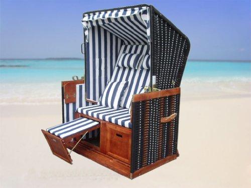 XINRO® – XY-01 – Garten Strandkorb inkl. Luxus Strandkorb Schutzhülle u. 4x Kissen, Blau-gestreifter Stoff – braunes Holz, Nordsee Strandkorb Form - 6