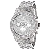 Iced Out Watches LUXURMAN Real Diamond Watch for Men in Stainless Steel with Diamond Band 1.25ct