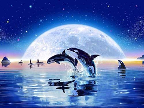 Q&K Puzzle 1500 Teile Puzzel Für Erwachsene Kind Puzzles Jigsaw Puzzle Game Toys Geschenk - Mond Zwei Delfine