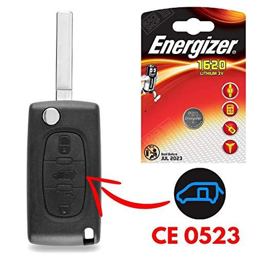 Boitier 3 Boutons pour Télécommande Plip Clé Compatible Peugeot Expert | Partner | Tepee | Bipper ✚ Pile CR1620 Energizer - Kit iRace Keys®