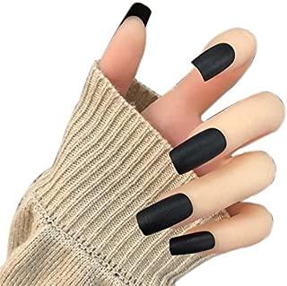 JINDIN 24 Sheet Long Square Fake Nails with Glue Sticker Design Acrylic False Nails Full Cover Women Home Salon Manicure Art Black