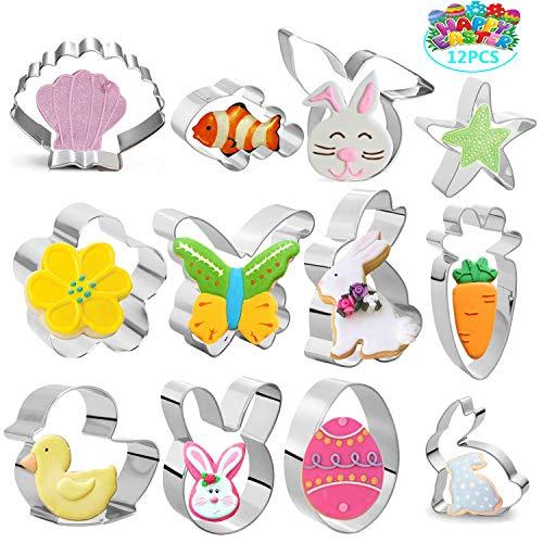 Hook 12 Galletas Moldes Pascua, Cortapastas Acero Inoxidable para Pastel, Cookie, Fondant, Polluelos, Conejos, Zanahorias, Mariposas, Huevos, Regalo Ideal de Pascua y Galletas de Pascua.