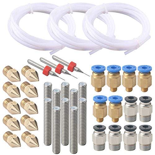 FULARR 38Pcs Profesional 3D Impresora Kit: 3Pcs PTFE Teflón Tubo, 6Pcs PC4-M6 Conector, 6Pcs PC4-M10 Conector, 10Pcs Boquilla Cabezal Impresión, 10Pcs Boquilla Garganta Tubo y 3Pcs limpieza Agujas.