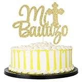 PALASASA Gold Glitter Mi Bautizo Cake Topper - Religious God Bless Me Cross Cake Décor - Holy First Communion Baby Shower - Christening Feliz Cumpleanos Party Decoration Bless This Child