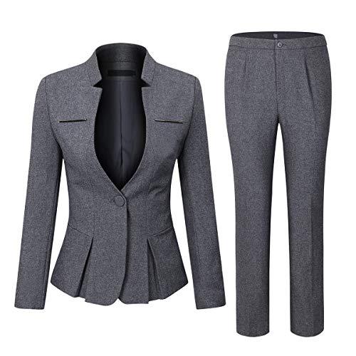 YYNUDA Anzug Set Damen Blazer mit Rock/Hose Slim Fit Hosenanzug Elegant Business Outfit für Office