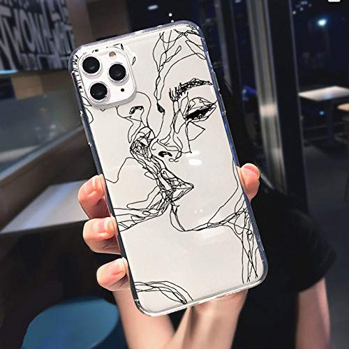 LIUYAWEI Funny Abstract Women Face Line Funda Suave para teléfono para iPhone 11 Pro MAX 12 Pro SE 7 8 Plus XR XS MAX X Kiss Más a Menudo Funda Transparente, T146, para iPhone X XS