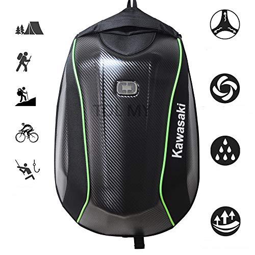 bolihong Motorrad Rucksack, Helm Rucksack Kawasaki Carbon Motorrad Rucksack wasserdicht große Kapazität Reiten Laptop-Tasche für unterwegs