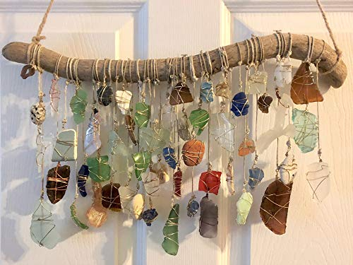 Beach Glass Sun Catcher, Eco Friendly Decor, Beach Wedding, Sea Glass Suncatcher, Driftwood Mobile, Retirement, Handmade Christmas