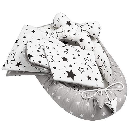 Solvera Ltd - 5tlg. Kuschelnest-Set II Baby Ausstattung-Set Für Neugeborene II Kuscheldecke, Kissen und herausnehmbarer Einlage. 100% Baumwolle (Galaxis)