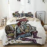 Juego de funda nórdica beige, pirata esqueleto sosteniendo una taza de cerveza Cofre del tesoro Gold Freebooter Sailor Corsair, juego de cama decorativo de 3 piezas con 2 fundas de almohada Fácil cuid