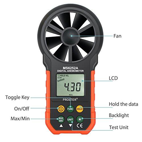 Proster Anemómetro Digital MS6252A LCD Retroiluminada Viento Medidor de Volumen de...