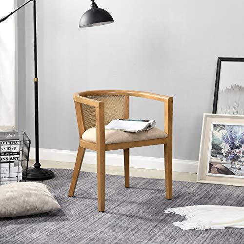 B&D home - Rattan Sessel skandinavisch | Lesestuhl Wohnzimmer | Fernsehsessel bis 150kg | arm Chair Relax Chair
