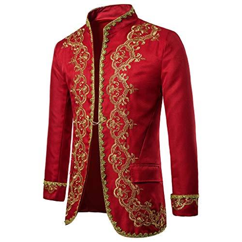AmyGline Herren Anzug Gothic Jacke Punk Kleidung Vintage Anzugjacke Mantel Prinz Cosplay Kostüm for Halloween Weihnachten Karneval