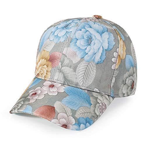 ZLYC Women Fashion Floral Print Baseball Cap Hawaiian Adjustable Snapback Dad Hat (Light Blue)