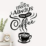 """Pegatinas de pared con texto en inglés """"There is Always time"""", para decoración de la cocina, decoración de la copa de vinilo, decoración extraíble con cita de la ventana de la tienda, póster"""
