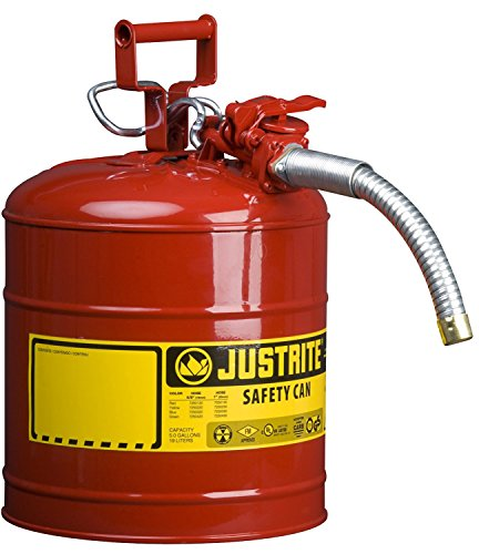 Justrite Galvanized Steel, AccuFlow Type II Red Safety Can with 1' Flexible Spout, Large ID zone, Meets OSHA & NFPA For Handling Hazardous liquids