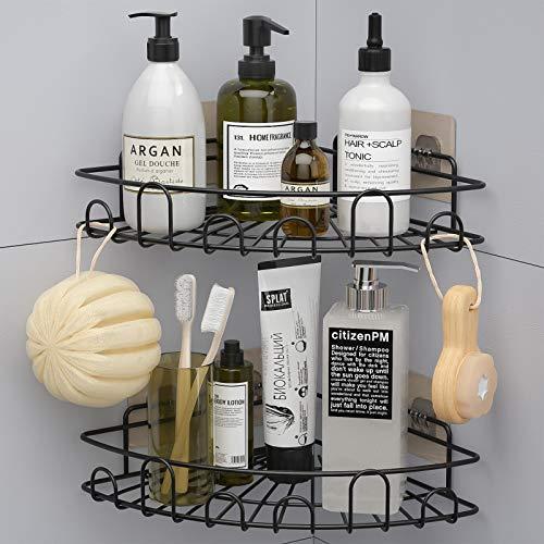 HapiRm Duschregal Duschablage Ohne Bohren, Duschkorb Edelstahl Badregal, Eckregal Küche für Dusche Badezimmer Toilette, Shampoo Halterung mit 8 Aufkleber(2 Stück)