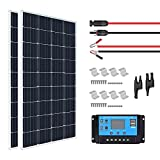 XINPUGUANG 300W 12v Kit de panel solar 2 x 150w 18v Módulo fotovoltaico mono 30A 12v / 24v Módulo fotovoltaico controlador de carga solar para autocaravana, yate, exterior, jardín, luz (300)