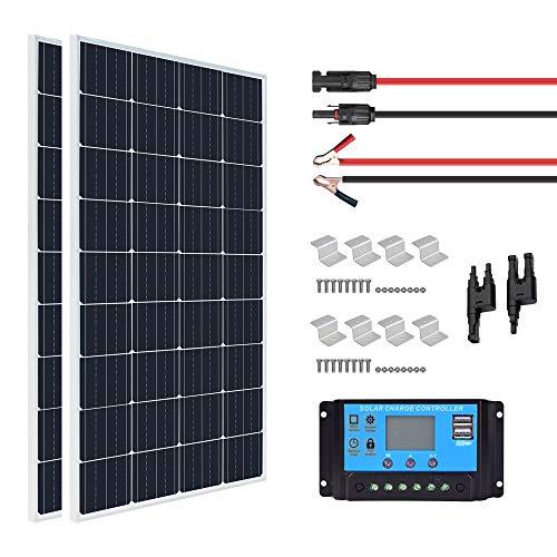 XINPUGUANG Kit pannello solare 300W 12v 2 moduli fotovoltaici mono da 150w 18v Modulo fotovoltaico con regolatore di carica solare 30A 12v / 24v per camper, yacht, esterno, giardino, luce (300)