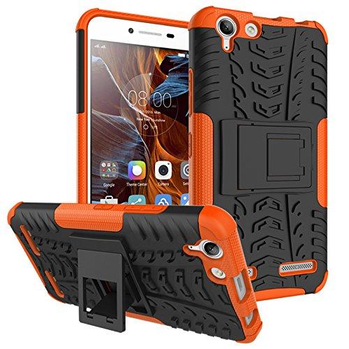 TiHen Handyhülle für Lenovo K5/A6020 Hülle, 360 Grad Ganzkörper Schutzhülle + Panzerglas Schutzfolie 2 Stück Stoßfest zhülle Handys Tasche Bumper Hülle Cover Skin mit Ständer -Orange