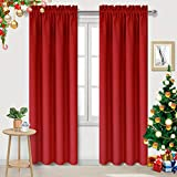 DWCN Blackout Curtains for Bedroom – Thermal Insulated Room Darkening Drapes for Living Room, Red, W 42 x L 84 Inch, Set of 2 Rod Pocket Curtain Panels