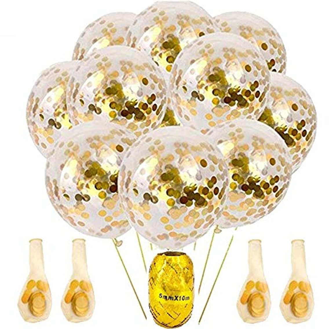 10 Pcs Gold Confetti Balloons 12 Inches with Gold Ribbon, Party Balloons with Golden Paper Confetti Dots for Wedding, Proposal, Baby Showers, Birthday Celebrations and Party Decorations. Glowyms