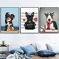 ZYQYQ装飾画キャンバスウォールアート漫画おかしい犬の矢の絵北欧のポスタープリント写真ベビーキッズルームの装飾40x60cmx3Pcs額装なし