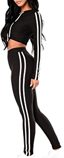 Womens 2 Piece Outfits Hoodie Crop Top and Pants Sport Jumpsuits Sweatsuit Set