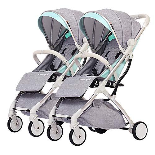 Poussetter Yhz de jumeau de bébé, Chariot détachable d'enfant, Cadre de Pliage léger de Chariot d'alliage d'aluminium de Double Chariot portatif léger (Couleur : Vert Fluorescent)