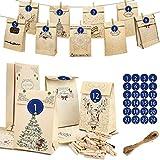 Calendario de Adviento de Qutai, reutilizable, bolsas de papel con 1 – 24 pegatinas de números, cordón de yute de 10 m, 24 pinzas para la ropa + 24 bolsas de papel kraft marrón para regalo
