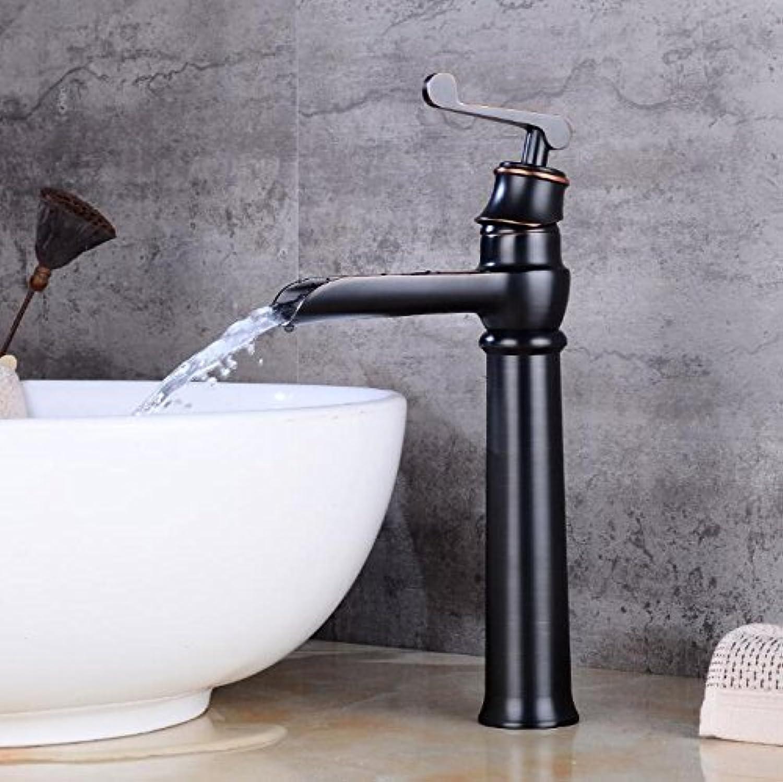 WKZDS.KK Waschtischmischer Tippen Sie Auf Schwarz Wasserfall Waschbecken Bad Armatur Waschbecken Tippen Sie Auf Orb Messing Schwarz Wasserfall Wasserhahn Warmes Und Kaltes Mischbatterie, Hohe Schwarze