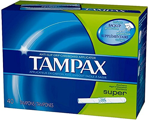 Tampax Cardboard Applicator Tampons Super Absorbency 40 ea