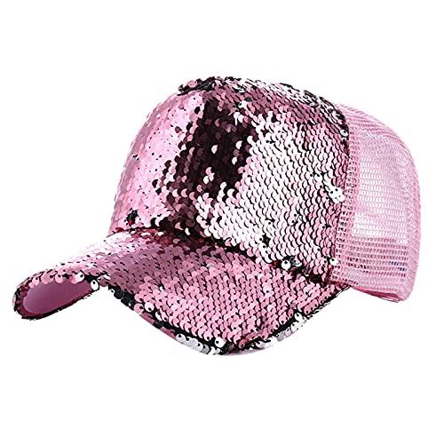 AiSi Gorra de béisbol de lentejuelas con purpurina para mujer y niñas, sombrero de béisbol de malla transpirable