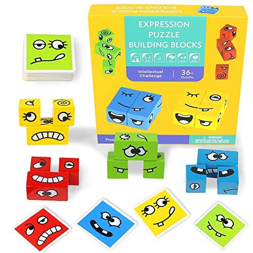 Montessori Spielzeug Holzpuzzle Ausdruck Puzzle Kinderspielzeug Steckspiel Magische Blöcke Spiel Holzspielzeug Baby Intellektuelle Logik Spiele für Kinder Lernspielzeug Steckpuzzle für 2 3 4 Jahre