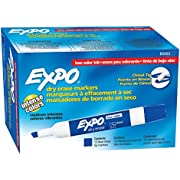EXPO 80003 Low-Odor Dry Erase Markers, Chisel Tip, Blue, 12-Count