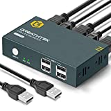 GREATHTEK KVM HDMI Switch USB 2 Puertos 4K, USB2.0, 4K @ 30Hz Conmutador KVM 2 PC 1 Monitor, Ultra HD, con 2 Cables USB y 2 HDMI