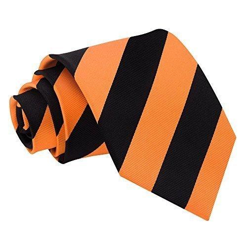 Sendmart - Cravate Fine en Satin Avec Motif - Non précisé, Orange - Rayures