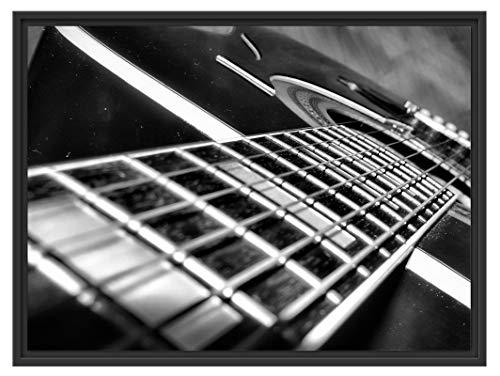 Picati gitaarsnaren in schaduwvoegen fotolijst | kunstdruk op hoogwaardig galeriekarton | hoogwaardige canvasfoto alternatief 80x60