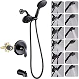 Dual-Function Shower Faucet Set with Tub Spout Oil Rubbed Bronze High Pressure 35 Setting Dual 2 in 1 Shower System with Handheld Shower Head 3-Way Water Diverter Shower Trim Kit with Rough In Valve