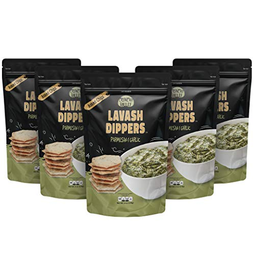 Lavash Dippers - Made from Healthy Baked Lavash Flatbread – Uniquely Flavorful Alternative to Pita Chips – Perfect Snack Chip for Snacks, Salads, Soups or Dipping – Garlic Parmesan – 6oz (Pack of 5)