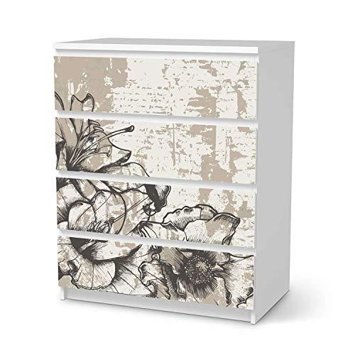 Möbelfolie selbstklebend passend für IKEA Malm Kommode 4 Schubladen I Möbelaufkleber - Möbel-Sticker Aufkleber Folie I Deko Wohnung für Schlafzimmer und Wohnzimmer - Design: Styleful Vintage 1
