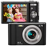 Digital Camera HD 2.7K 44 MP Vlogging Camera with Webcam, Point & Shoot Digital Camera with 2.88' IPS Screen, 16X Digital Zoom, 2 Batteries, Gift for Birthdays,Christmas,Thanksgiving Days