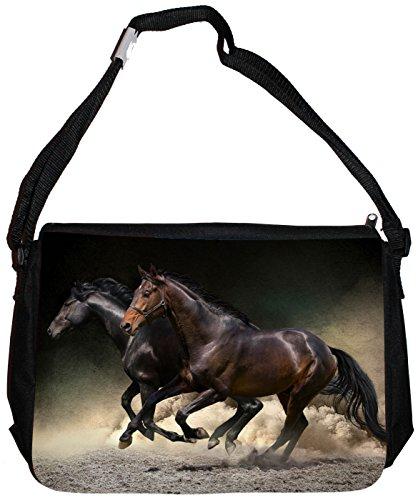 Merchandise for Fans Schultertasche - 38x28x8cm, 8,5 Liter, schwarz Motiv: Pferd/Pferde im Galopp - 06