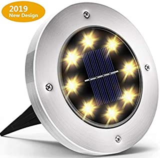 Biling Solar Lights Outdoor, Solar Disk Lights 8 LED Waterproof Solar Ground Lights Outdoor for Patio Pathway Garden Lawn Yard Driveway Deck Walkway - Warm White (1 Pack)