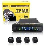 ZEEPIN TPMS Solar Power Sistema Universale di Monitoraggio della Pressione dei Pneumatici Wireless con 4 Sensori Esterni Fai-da-Te e Display in Tempo Reale Pressione e Temperatura dei 4 Pneumatici